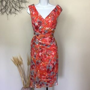 Abstract floral sleeveless ADRIANNA PAPELL DRESS